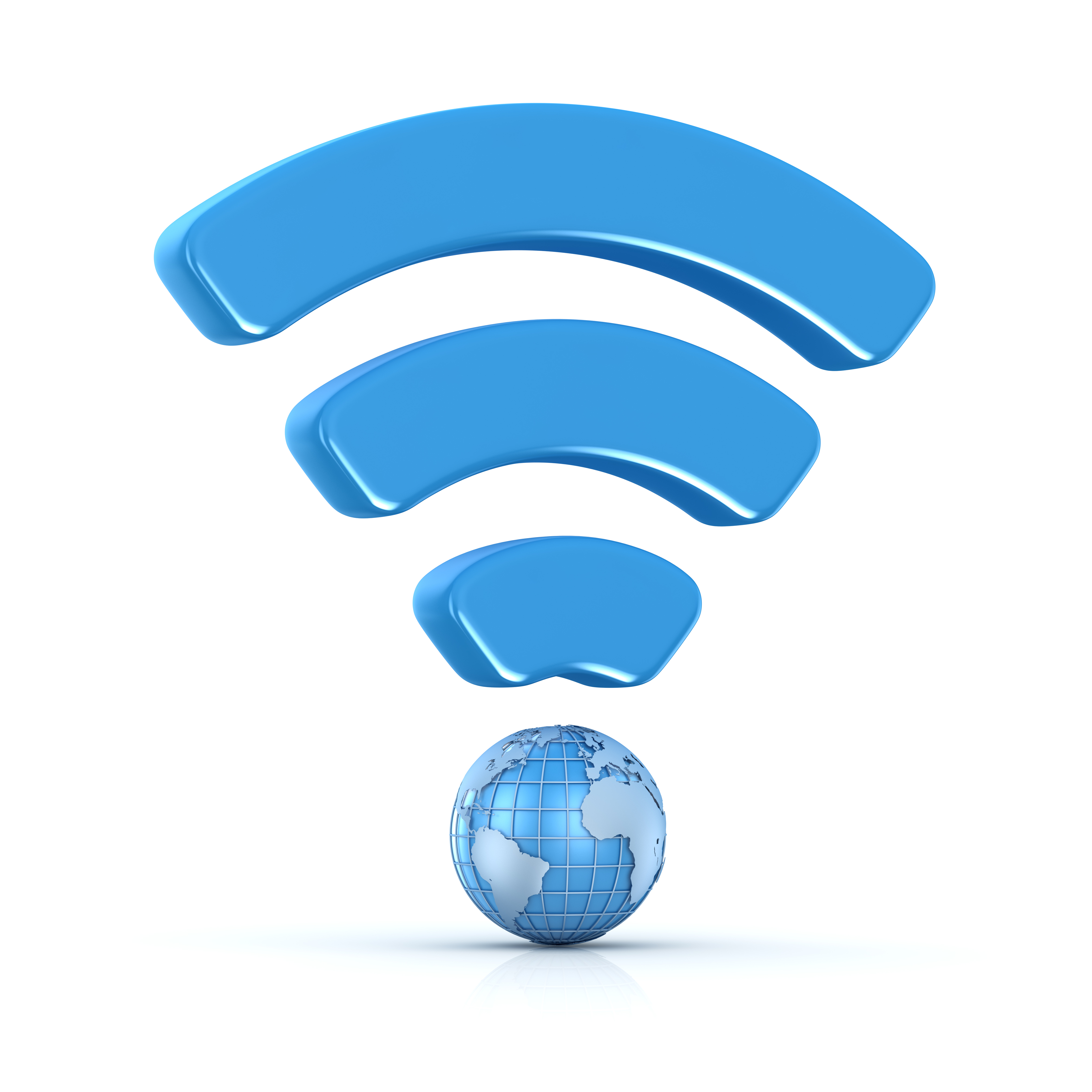 Wifi icon with world map , This is a computer generated and 3d rendered picture.