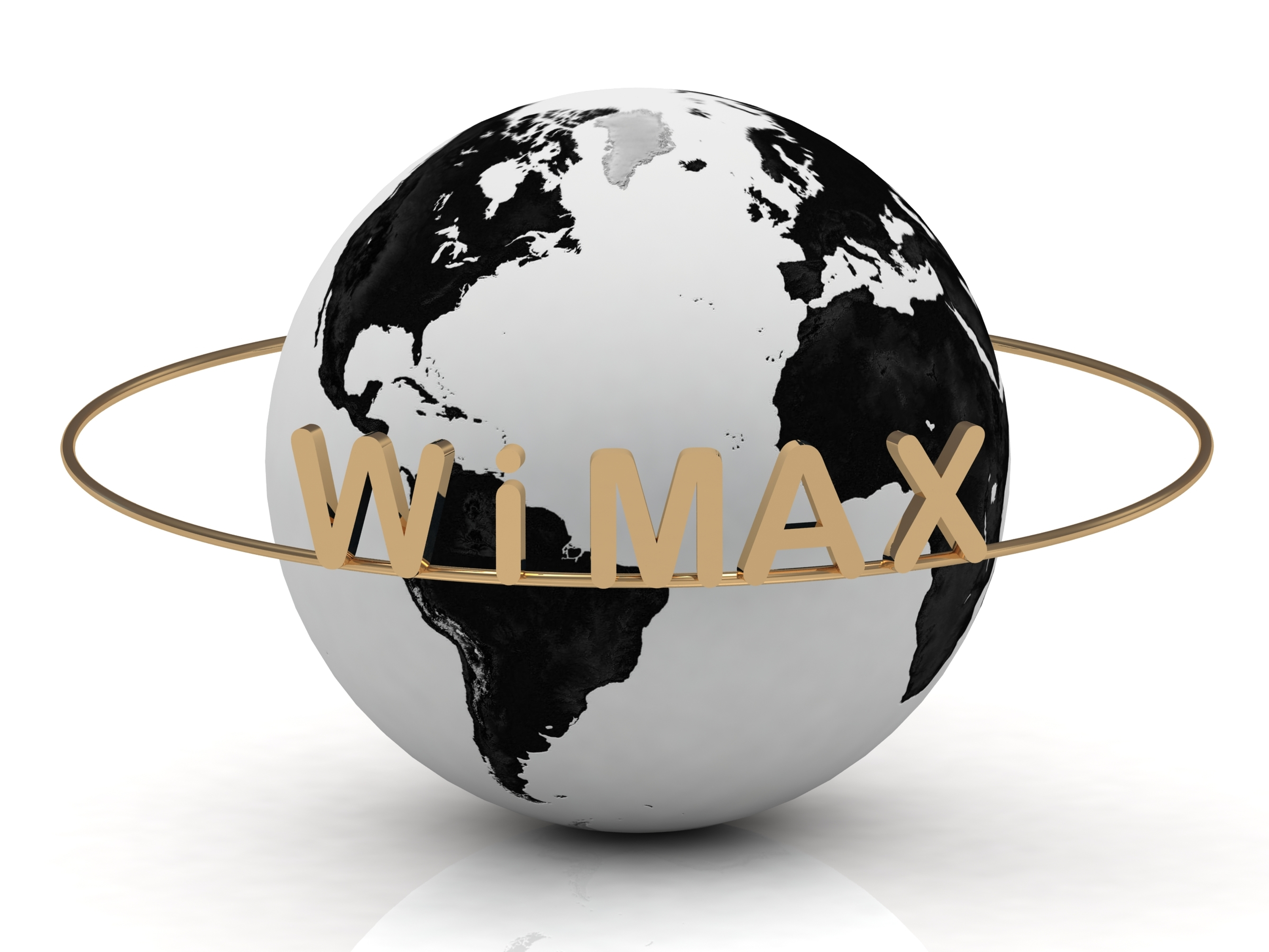 Gold WIMAX and gold ring, abstraction of the inscription around the earth on a white background